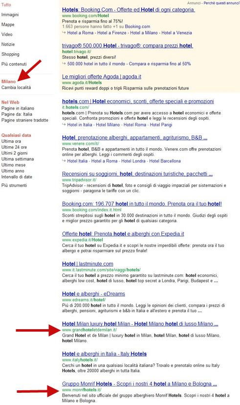 Customized serps results for the word hotel ip address Milano