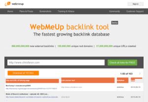 screenshot of Webmeup back-link SEO tool