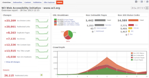 Image of the deep crawl SEO software in action