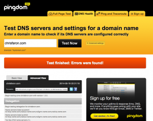 Pingdom DNS checker tool