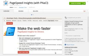 Screenshot of PageSpeed Insights (with PNaCl) plugin for Chrome