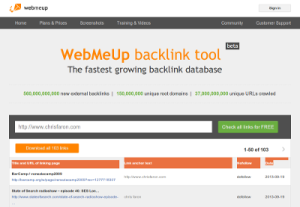 screenshot of Webmeup back-link SEO tool
