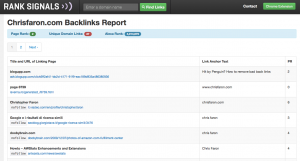 Screenshot of my backlinks with the ranksignals SEO tool