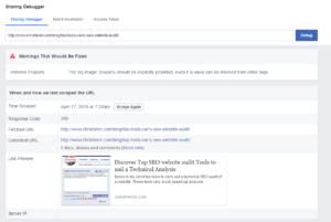 Open graph debug from Facebook