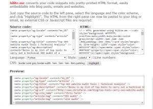 HTML code highlighter tool