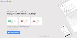 Screenshot of the Google site tester