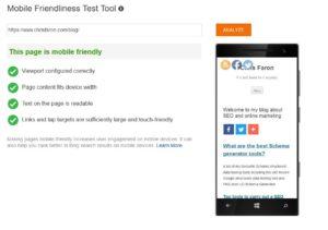 Bing Mobile Friendliness Test Tool to test JavaScript sites